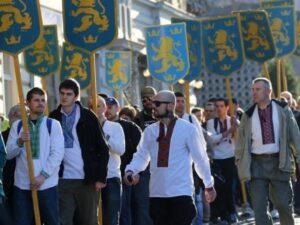 Участники марша в честь дивизии СС